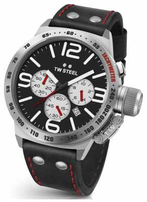 TW Steel Mens Canteen 45mm Chrono Black Leather Strap CS7
