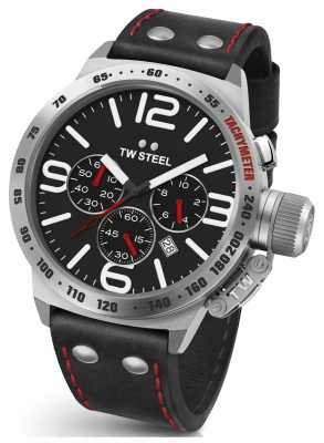 TW Steel Mens Canteen 45mm Chrono Black Leather Strap CS9