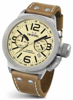 TW Steel Mens Canteen 50mm Chrono Brown Leather Strap CS14