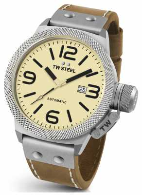 TW Steel Mens Canteen 50mm Automatic Leather Strap CS16