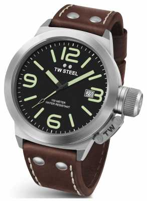 TW Steel Mens Canteen 45mm Brown Leather Strap CS21