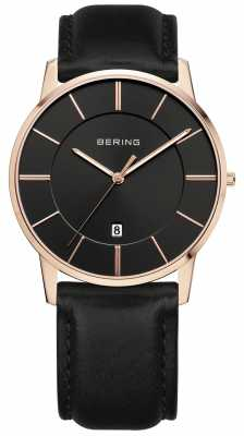 Bering Mens Classic, Rose Gold, Black Dial 13139-466