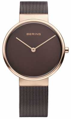 Bering Mens classic, Rose Gold, Brown Dial 14539-262