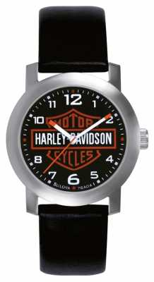 Harley Davidson Mens Black Leather Strap Watch 76A04
