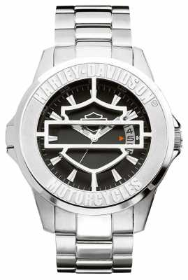 harley davidson mens watches official uk retailer first class harley davidson mens black patterned dial hinged cover 76b143