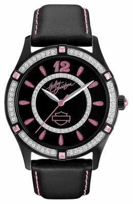 Harley Davidson Black Dial Analogue Display Womens Quartz 78L113