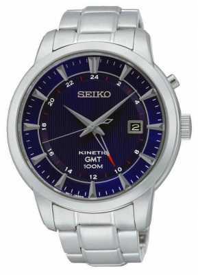 Seiko Mens GMT Kinetic Steel Blue Dial Watch SUN031P1