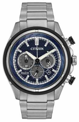 Citizen Mens Titanium Eco-Drive Titanium Silver Blue CA4240-82L