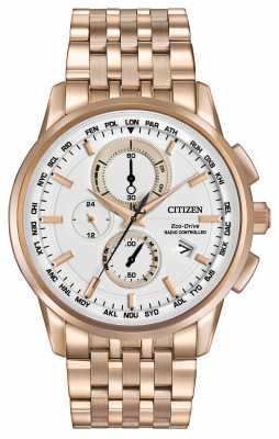 Citizen Mens Eco Drive World Chrono A-T Rose Gold Tone AT8113-55A