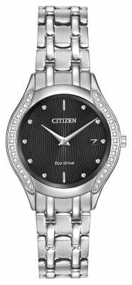 Citizen Womens 30 Diamond Case Black Dial Stainless Steel GA1060-57E