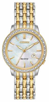 Citizen Womens 32 Diamond Two-Tone Gold Plated Pearl Dial EW2284-57D