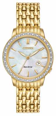 Citizen Womens Silhouette 32 Diamond, Gold Plate, Pearl Dial Eco EW2282-52D