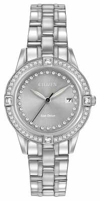Citizen Eco-Drive Silhouette Crystal Set Case Stainless Steel FE1150-58H
