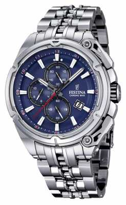 Festina Mens 2015 Chronobike, Steel, Blue Dial F16881/2