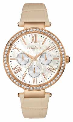 Caravelle New York Womens Leather Strap Rose Gold PVD Case 44N105