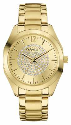 Caravelle New York Womens PVD Gold Plated Stone Set Dial 44L159