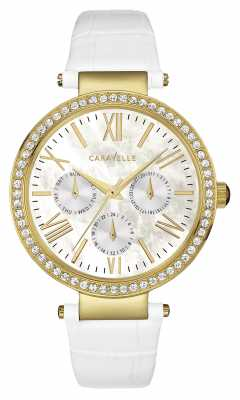 Caravelle New York Womens White Leather PVD Gold Case 44N104
