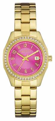 Caravelle New York Womens PVD Gold Plated Pink Dial 44M107