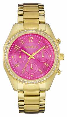 Caravelle New York Womens PVD Gold Plated Pink Dial 44L168