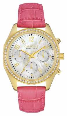 Caravelle New York Womens Pink Leather Strap Mother Of Pearl 44L169