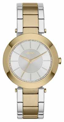 DKNY Womens Stanhope 2.0 Two Tone Silver Dial NY2334
