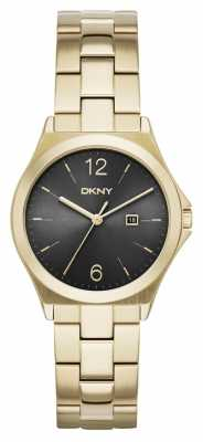 DKNY Womens Parsons Gold Pvd Plated Black Dial NY2366