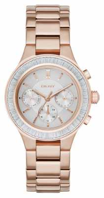 DKNY Womens Chambers Stone Set Chrono Rose Gold NY2396