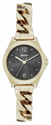 DKNY Womens Parsons Gold PVD Plated Black Dial NY2425