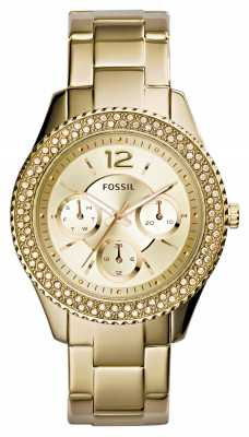 Fossil Womens Stella Gold PVD Plated Stone Set Bezel ES3589