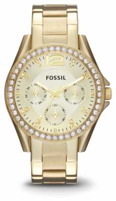 Fossil Womens Riley Gold PVD Plated ES3203