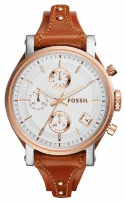 Fossil Womens Original Boyfriend Brown Leather ES3837