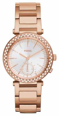 Fossil Womens Urban Traveler Rose Gold PVD Plated ES3851