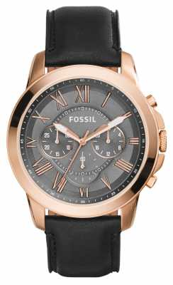 Fossil Mens Grant Black Leather Strap FS5085