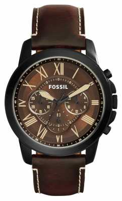Fossil Mens Grant Brown Leather Strap Brown Dial FS5088