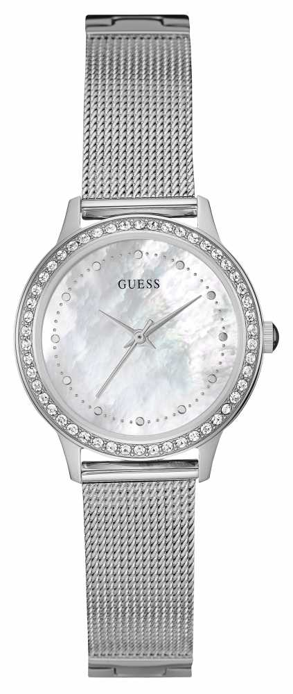 Guess Womens Chelsea Silver Mesh Strap Watch W0647L1