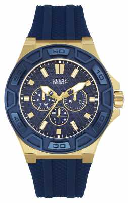 Guess Mens Force Blue Silicone Strap Gold Case W0674G2