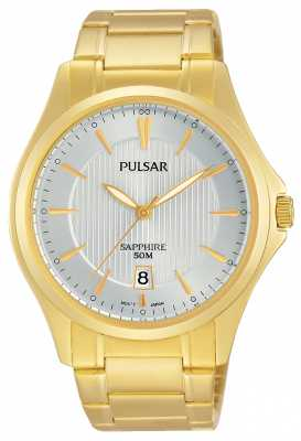 Pulsar Mens Gold Plated Silver Dial PS9384X1
