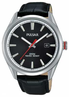 Pulsar Mens Black Leather Strap Black Dial PS9375X1