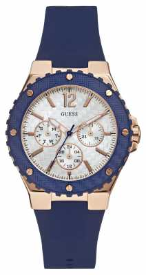 Guess Womens Overdrive Blue Rubber Strap W0149L5