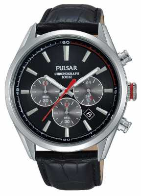 Pulsar Mens Chrono Black Leather Strap Black Dial PT3729X1