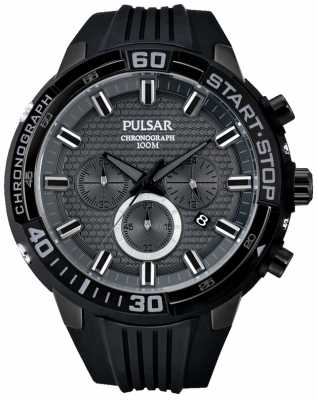 Pulsar Mens X Chronograph Black Rubber Strap PT3699X1