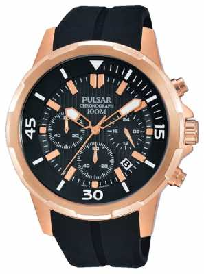 Pulsar Mens Chrono Black Rubber Strap Black Dial PT3716X1
