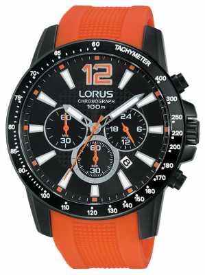 Lorus Mens Chrono Orange Rubber Strap Black Dial RT357EX9