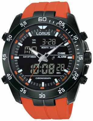 Lorus Mens Analog Digital Alarm Orange Strap RW625AX9