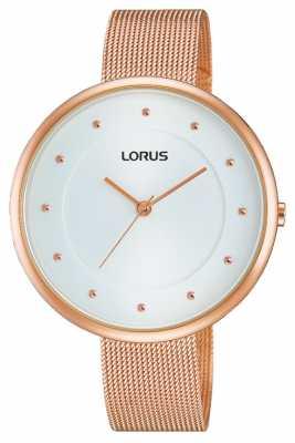 Lorus Womens Rose Gold PVD Plated Mesh RG288JX9