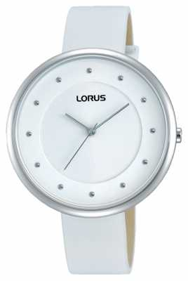 Lorus Womens White Leather Strap White Dial RG295JX9