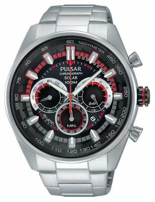 Pulsar Mens WRC Chrono Stainless Steel Black Dial PX5017X1