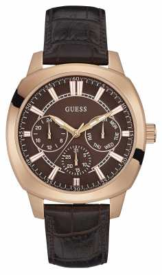 Guess Mens Prime Brown Leather Strap Brown Dial W0660G1