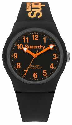 Superdry Mens Urban Black Rubber Strap Black Dial SYG164B