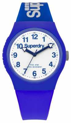 Superdry Mens Urban Blue Rubber Strap White Dial SYG164U